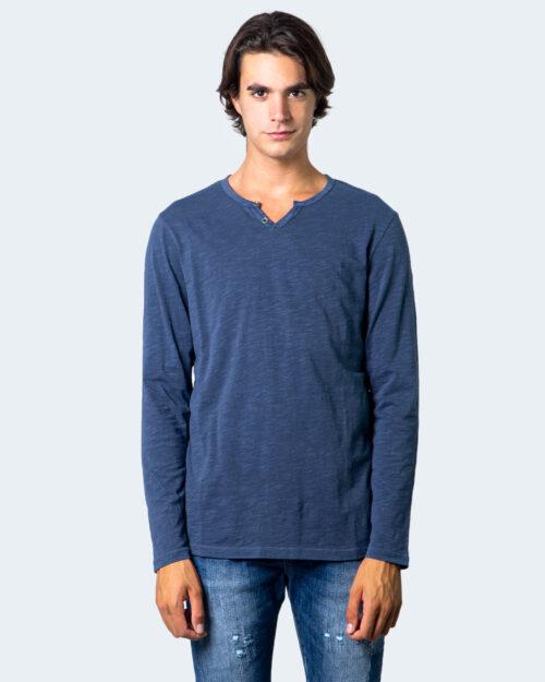 T-shirt manica lunga Jack Jones Split Neck Tee L/S Noos Blu – 53091