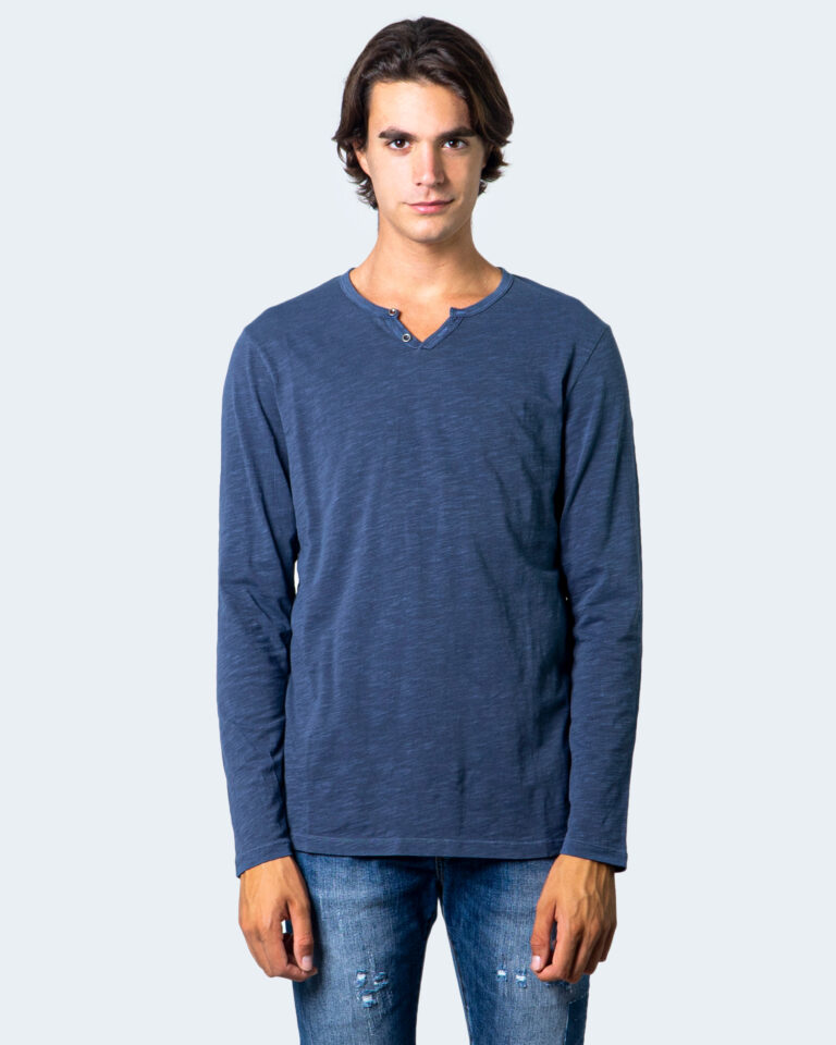 T-shirt manica lunga Jack Jones Split Neck Tee L/S Noos Blu - Foto 2