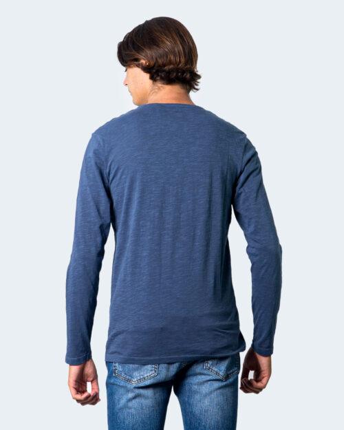 T-shirt manica lunga Jack Jones Split Neck Tee L/S Noos Blu - Foto 3