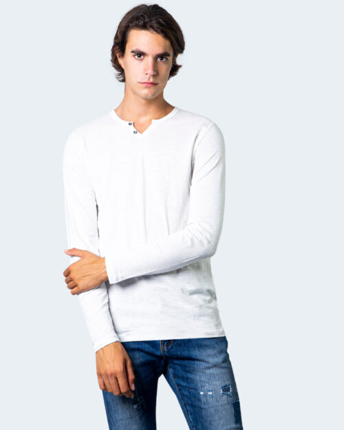 T-shirt manica lunga Jack Jones Split Neck Tee L/S Noos Panna - Foto 1