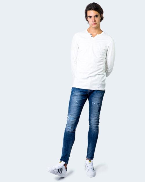 T-shirt manica lunga Jack Jones Split Neck Tee L/S Noos Panna - Foto 2