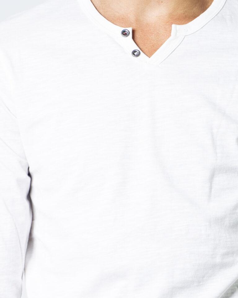 T-shirt manica lunga Jack Jones Split Neck Tee L/S Noos Panna - Foto 4