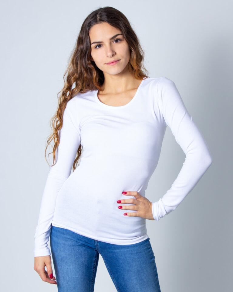 T-shirt manica lunga Only LIVE LOVE L/S O-NECK TOP NOOS JRS Bianco - Foto 1