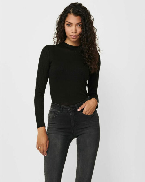 T-shirt manica lunga Only DIANA LUREX L/S TOP JRS NOOS Nero – 61422