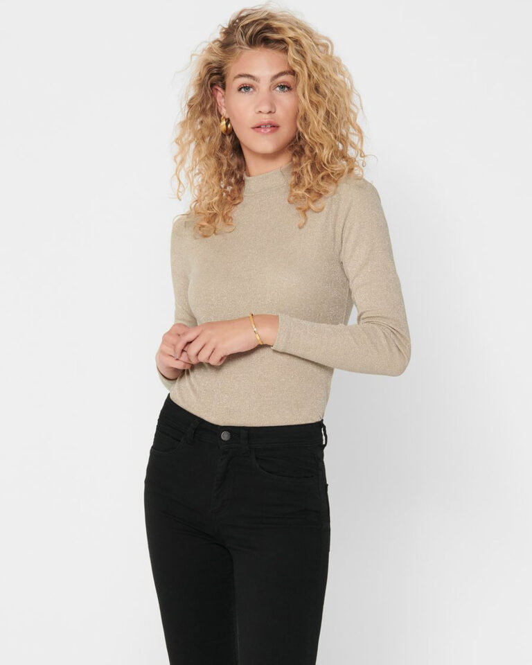 T-shirt manica lunga Only DIANA LUREX L/S TOP JRS NOOS Oro - Foto 1