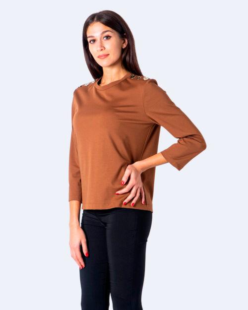 T-shirt manica lunga Sandro Ferrone Bazaar bottoni oro spalle Beige scuro – 59604