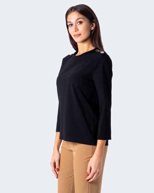 T-shirt manica lunga Sandro Ferrone Bazaar bottoni oro spalle Nero – 59604