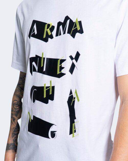 T-shirt Armani Exchange STAMPA RICAMO 3KZTFK ZJBVZ Bianco - Foto 3