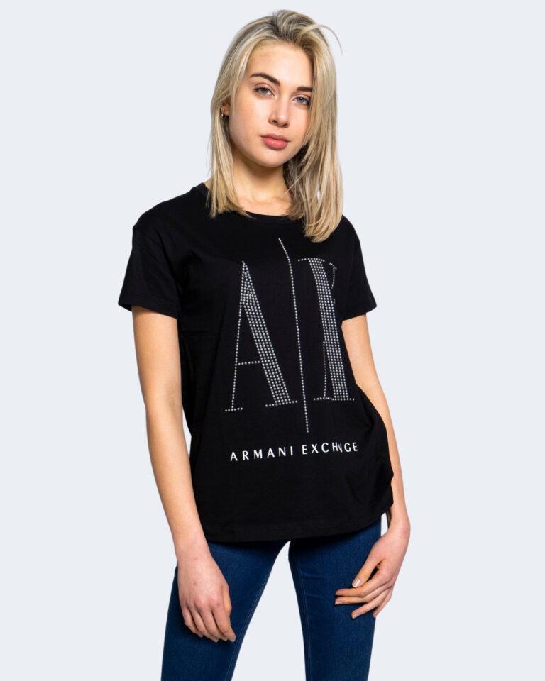 T-shirt Armani Exchange LOGO BORCHIE Nero - Foto 1