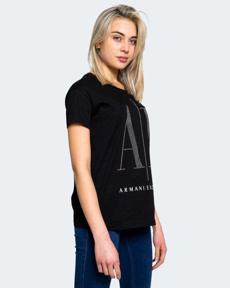 T-shirt Armani Exchange LOGO BORCHIE Nero - Foto 2