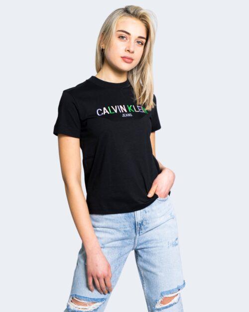 T-shirt Calvin Klein Jeans MULTICOLORED LOGO Nero - Foto 1