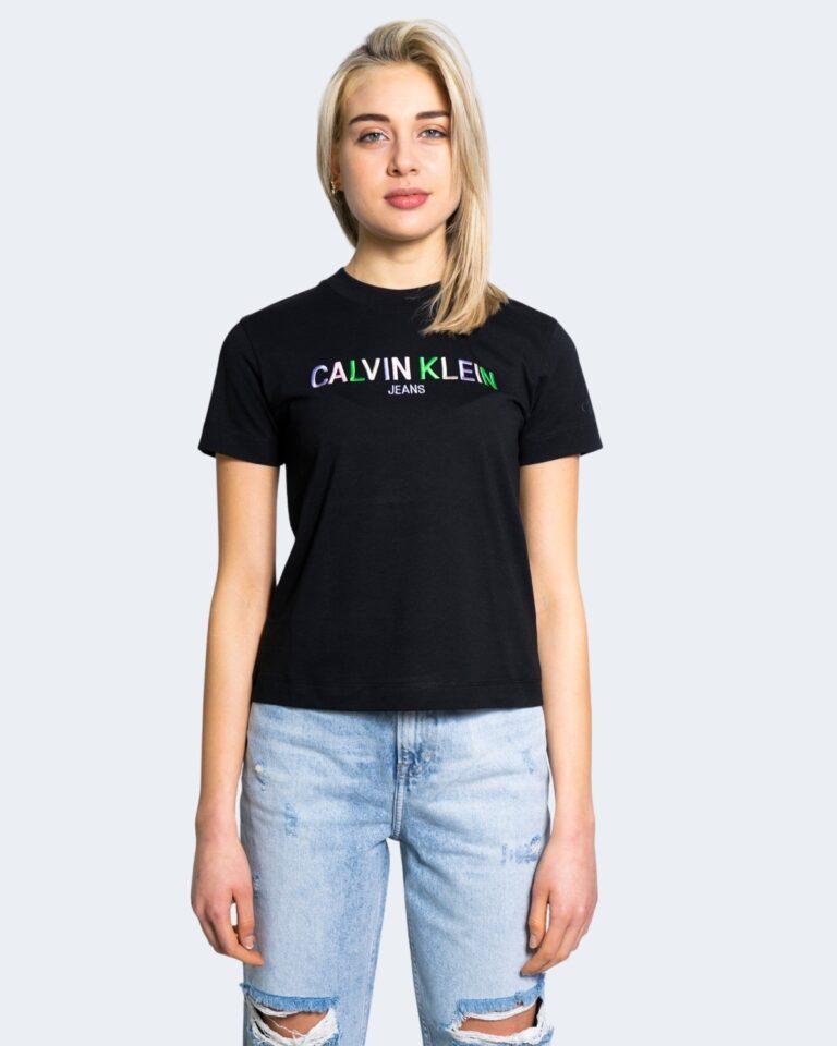 T-shirt Calvin Klein Jeans MULTICOLORED LOGO Nero - Foto 2