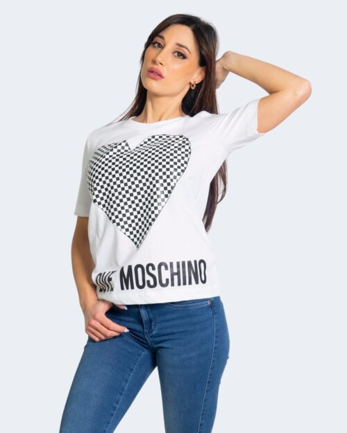T-shirt Love Moschino CUORE A SCACCHI Bianco – 68900