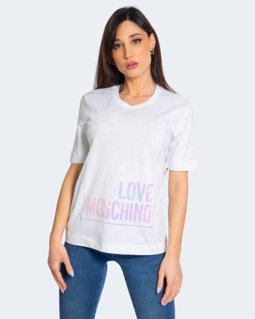 T-shirt Love Moschino LOGO CANGIANTE Bianco – 68903