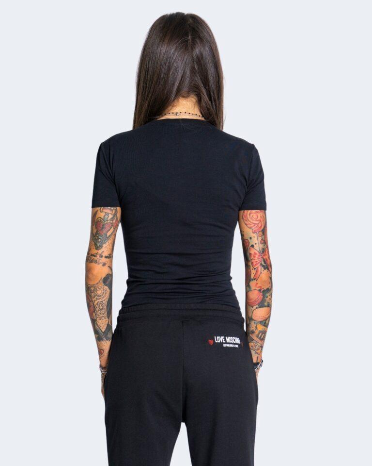 T-shirt Love Moschino WHITE BLACK AND RED Nero - Foto 2