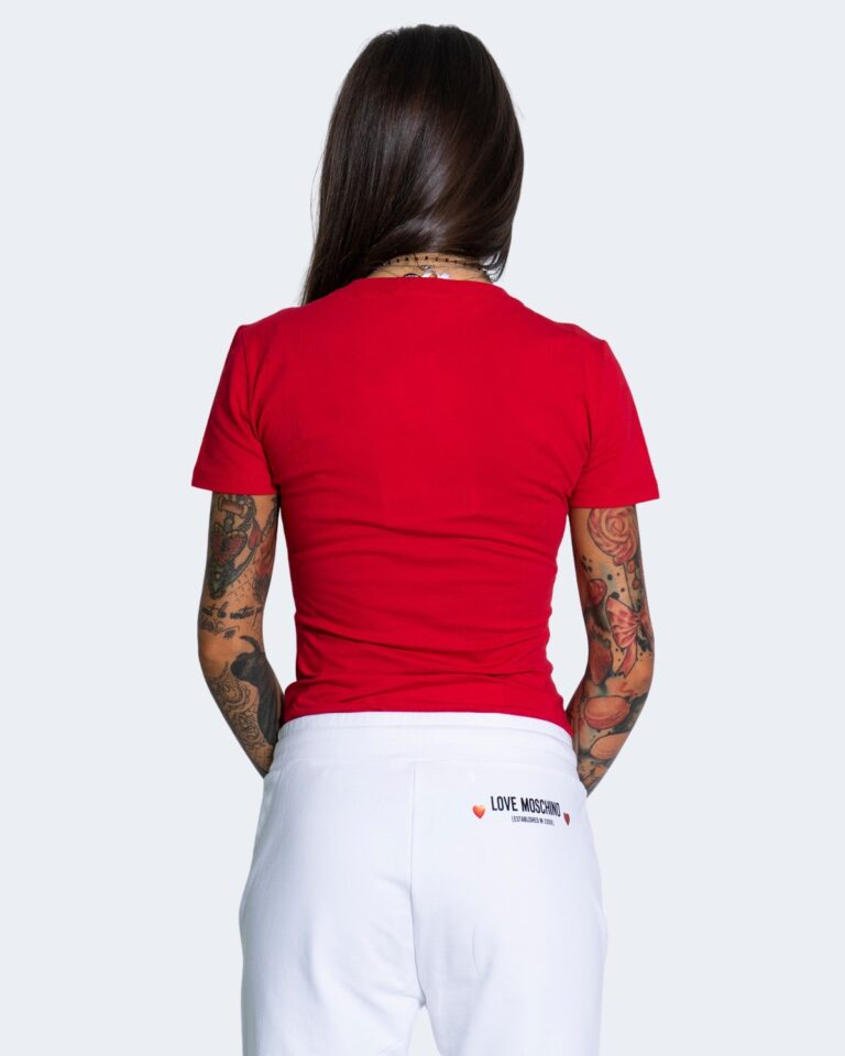 T-shirt Love Moschino WHITE BLACK AND RED Rosso - Foto 3