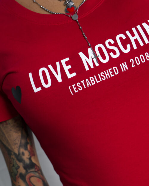 T-shirt Love Moschino WHITE BLACK AND RED Rosso - Foto 4