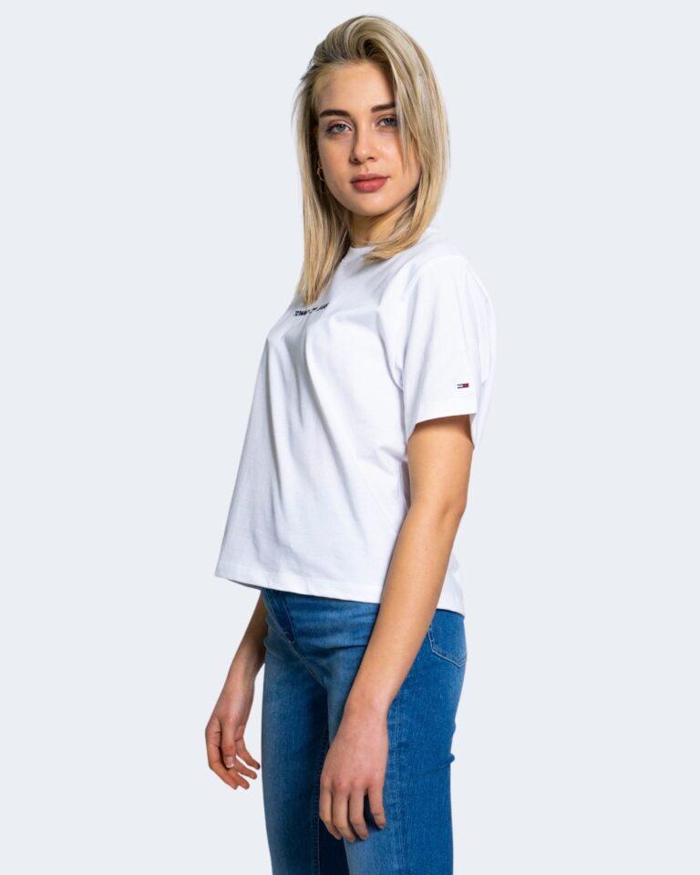 T-shirt Tommy Hilfiger Jeans LINEAR LOGO Bianco - Foto 4