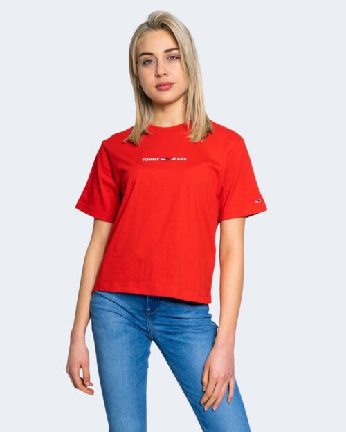 T-shirt Tommy Hilfiger Jeans LINEAR LOGO Rosso - Foto 1