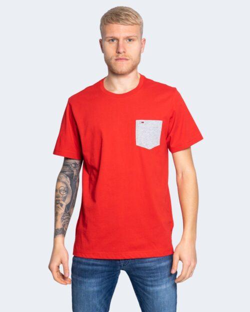 T-shirt Tommy Hilfiger Jeans CONTRAST POCKET Rosso - Foto 1