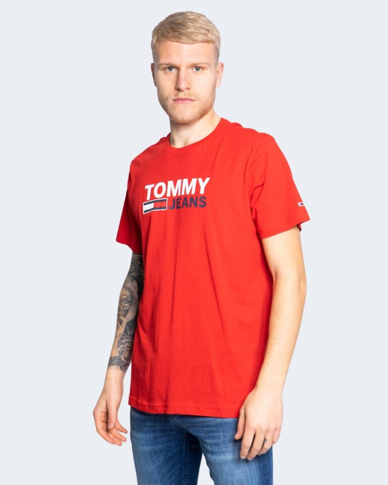 T-shirt Tommy Hilfiger Jeans LOGO Rosso - Foto 1