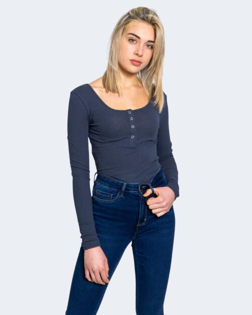 T-shirt manica lunga Pieces Kitte LS Top Noos BC Color Blu – 59401