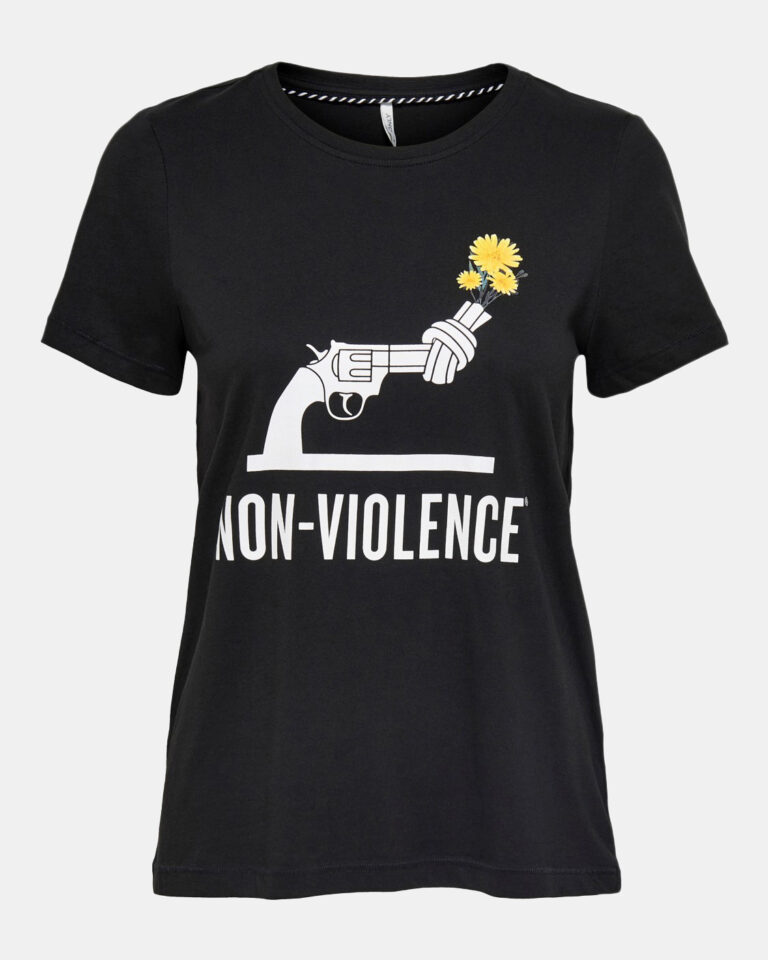 T-shirt Only NON VIOLENCE LIFE REG S/S TOP Nero - Foto 1