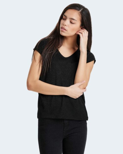 T-shirt Only SILVERY NECK LUREX TOP JRS NOOS Nero - Foto 1