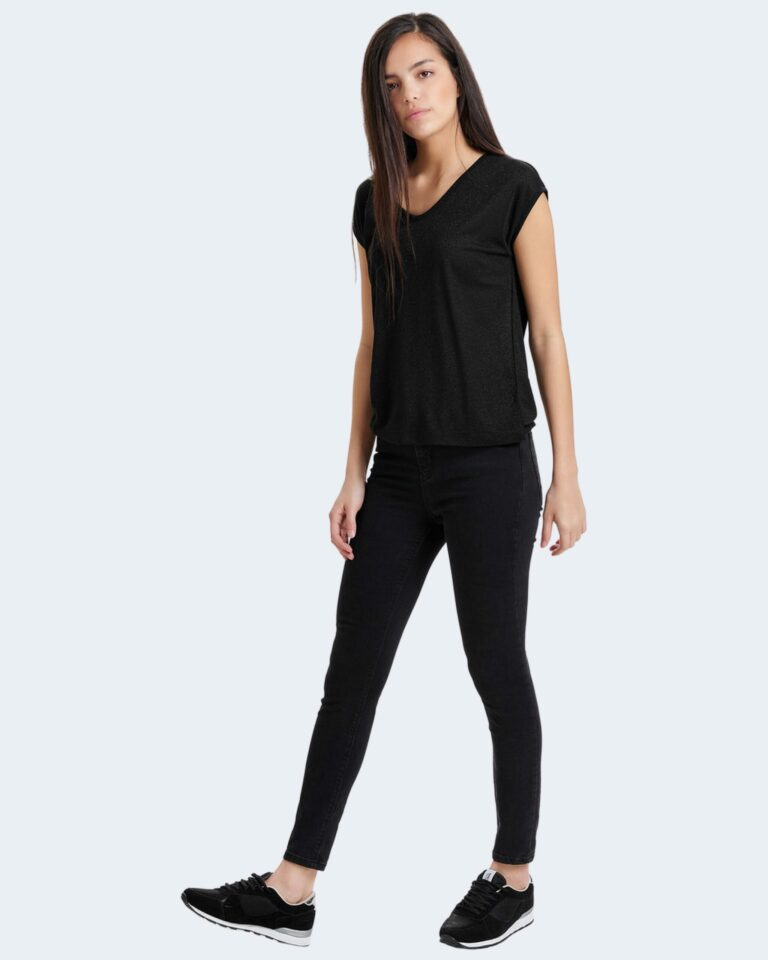 T-shirt Only SILVERY NECK LUREX TOP JRS NOOS Nero - Foto 2