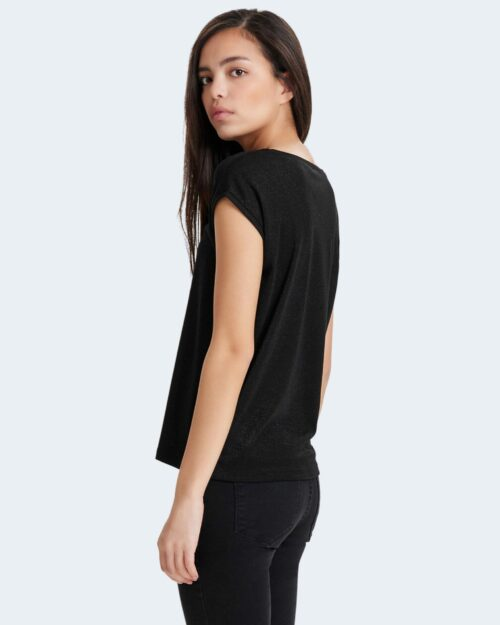 T-shirt Only SILVERY NECK LUREX TOP JRS NOOS Nero - Foto 3