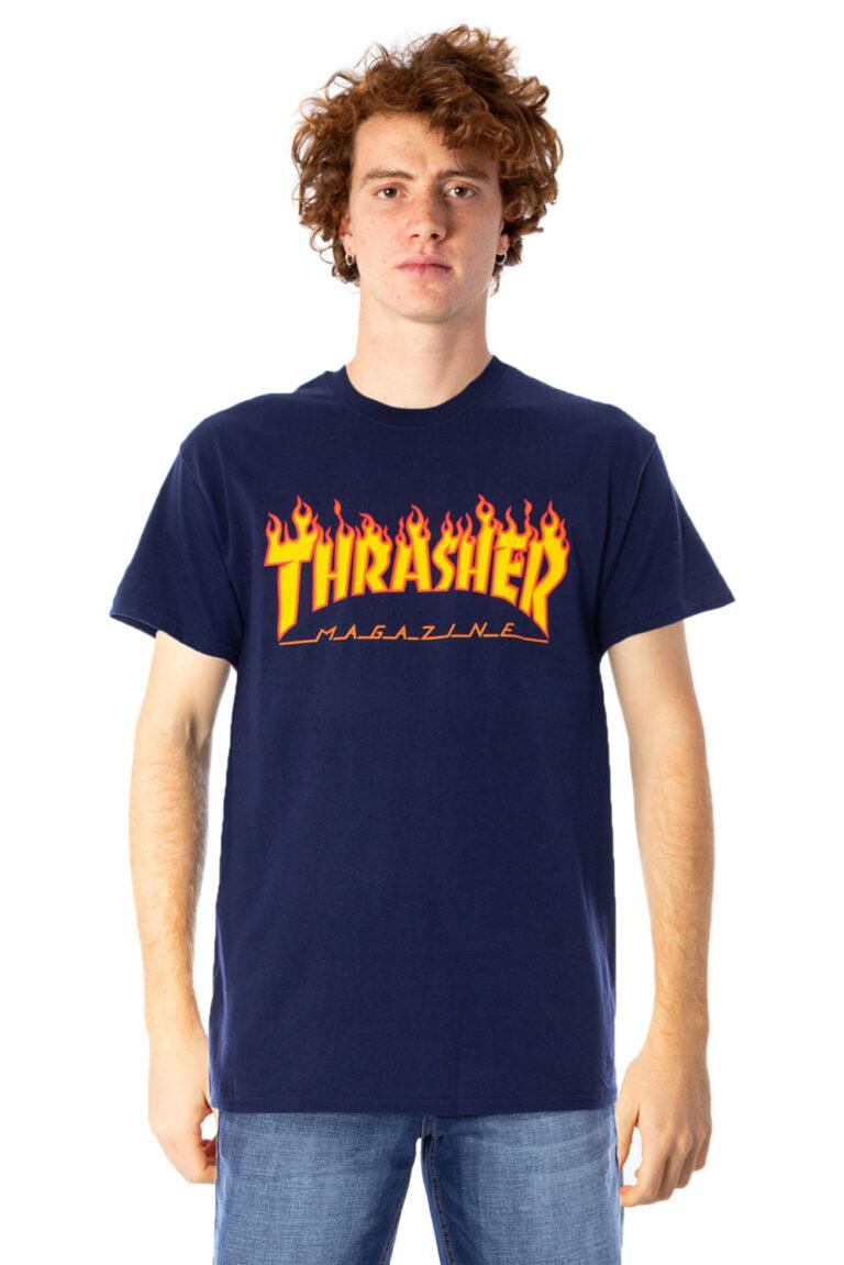 T-shirt Thrasher FLAME LOGO COLOR Blu - Foto 1