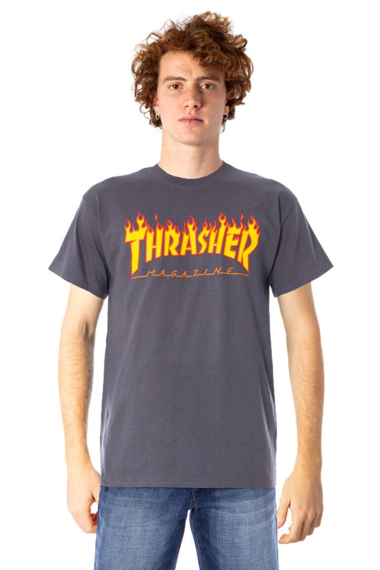 T-shirt Thrasher FLAME LOGO COLOR Grigio - Foto 1