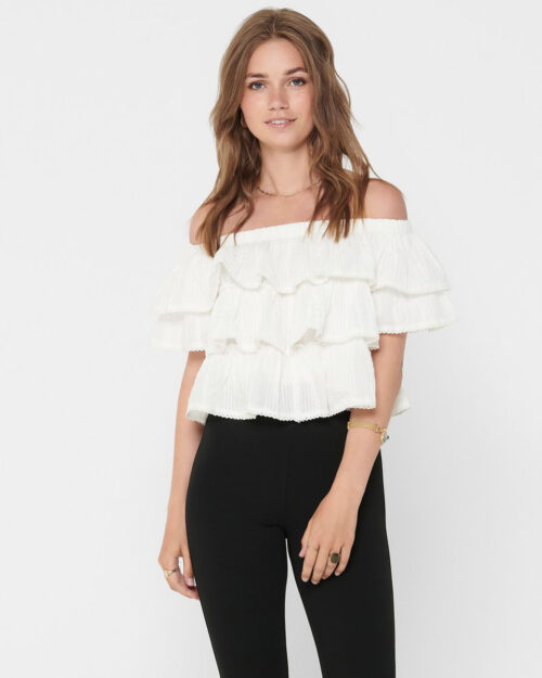 Camicia manica corta Only ALYSSA LIFE OFFSHOULDER SS DNM TOP FF Panna – 42109