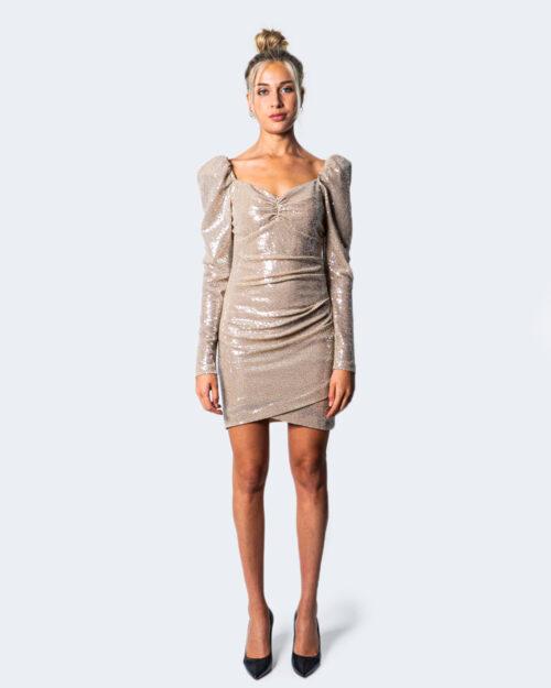 Vestito corto Aniye By OLGA GLITTER CR Beige – 54773
