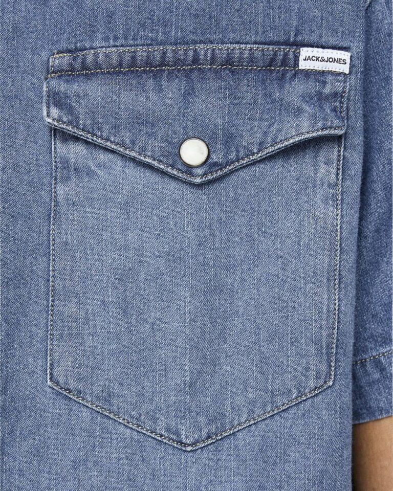 Camicia manica corta Jack Jones SHERIDAN Blue Denim - Foto 4