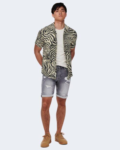 Camicia manica corta Only & Sons ZEBRA Crema – 63329