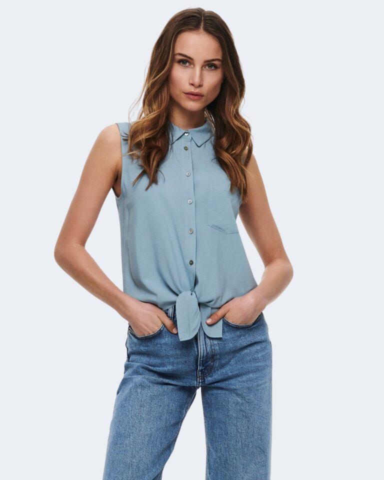 Camicia manica corta Only NINA Celeste - Foto 1
