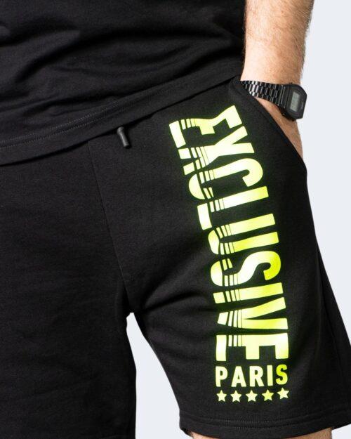 Completo corto tuta Exclusive Paris SCRITTA FLUO GIALLO Nero - Foto 3
