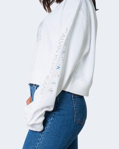 Felpa senza cappuccio Calvin Klein SHINE LOGO Bianco – 64590