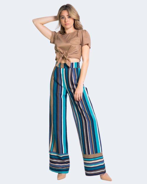 Pantaloni a palazzo Akè TAMARINDO Turchese – 68035