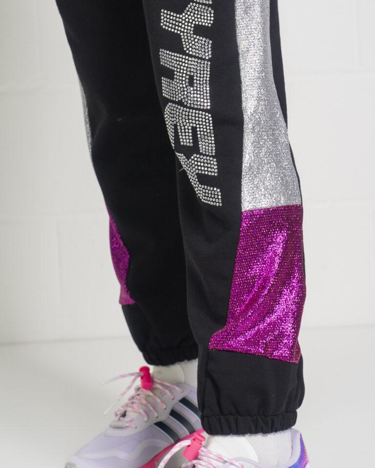 Pantaloni sportivi Pyrex BANDA LATERALE SILVER Nero - Foto 4