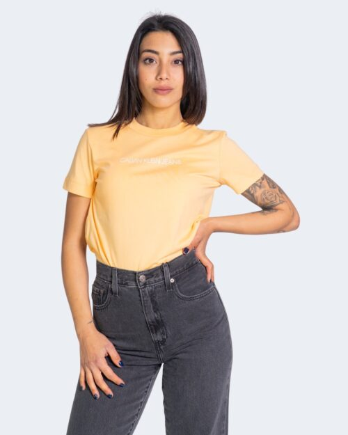 T-shirt Calvin Klein Jeans SHRUNKEN INSTITUTION Arancione - Foto 2