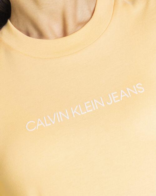 T-shirt Calvin Klein Jeans SHRUNKEN INSTITUTION Arancione - Foto 4