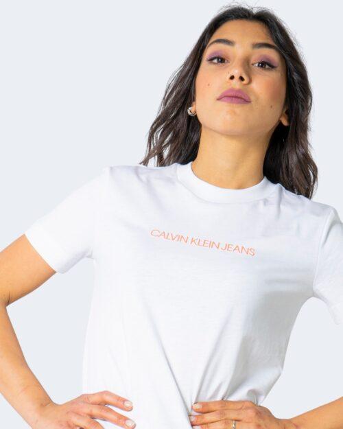 T-shirt Calvin Klein Jeans SHRUNKEN INSTITUTION Bianco - Foto 4
