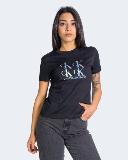 T-shirt Calvin Klein Jeans SHINE LOGO Nero - Foto 1
