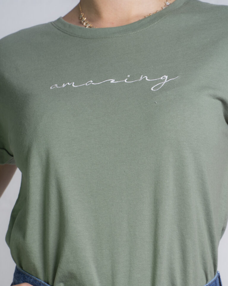 T-shirt Jacqueline de Yong LOUISA Verde Oliva - Foto 4