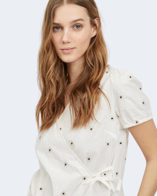 Blusa manica corta Vila Clothes DITSY WRAP TOP Bianco – 62965