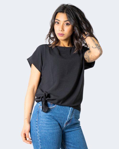 T-shirt Vila Clothes SURASHA S/S TIE TOP/SU Nero – 62975