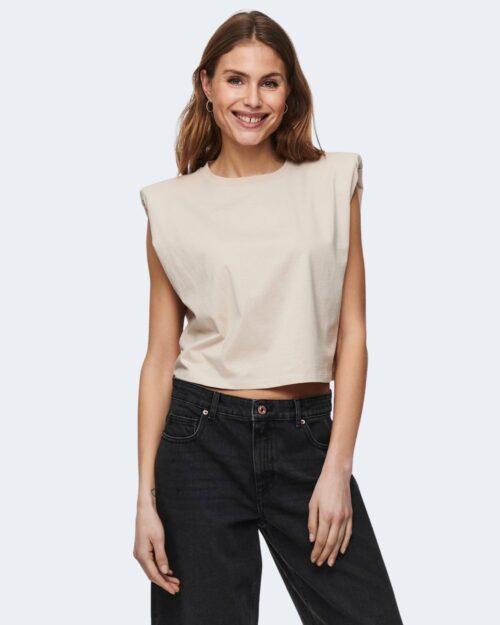 T-shirt Only JEN LIFE S/L SHOULDERPAD TOP JRS - 15227142 Beige - Foto 1