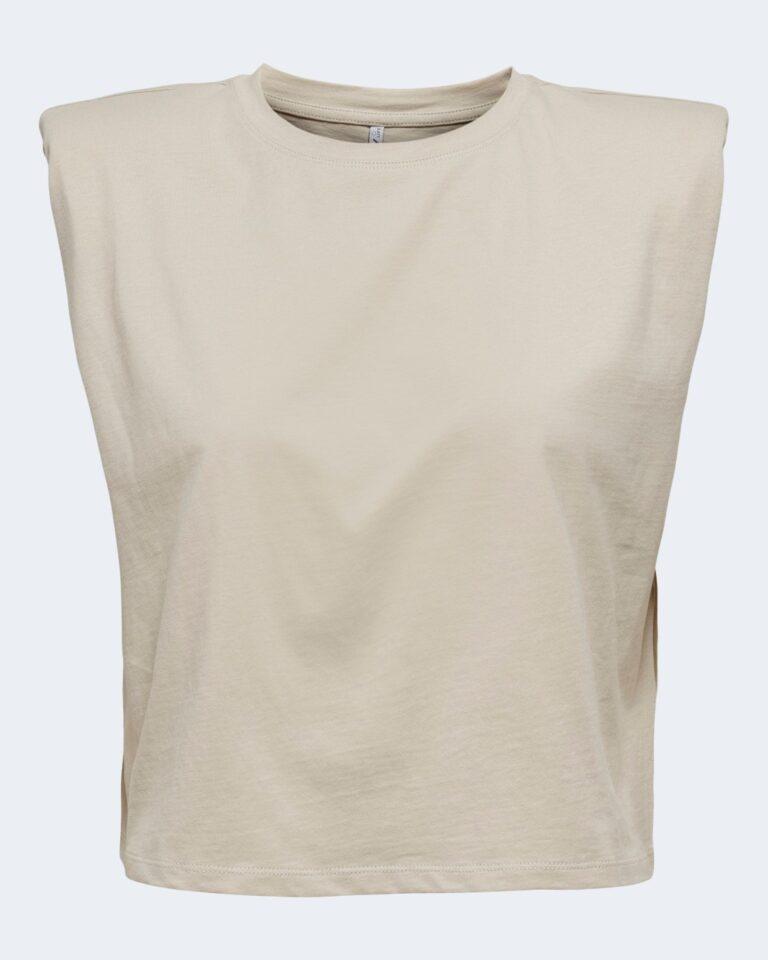 T-shirt Only JEN LIFE S/L SHOULDERPAD TOP JRS - 15227142 Beige - Foto 4